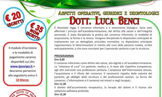 """Corso """"La nuova legge sul consenso informato e sul testamento biologico"""" a cura del Dott. Luca Benci"""